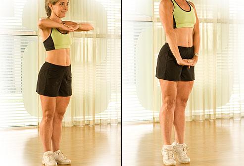 Ayaklarınızı birleştirerek ayakta durun. Kollarınızı iki yana açın. Nefesinizi verin ve sağ bacağınızı ileri doğru kaldırın. Aynı anda kollarınızı omuz hizasında öne doğru getirerek uzatın. Göbeğiniz sanki omurganıza baskı yapıyormuş gibi hissettirecektir. Nefes alın ve kollarınızı tekrar açarak başlangıç pozisyonuna dönün. Aynı hareketi sol bacak ile tekrarlayın. Bu hareketi günde en az 20 kere yapın.